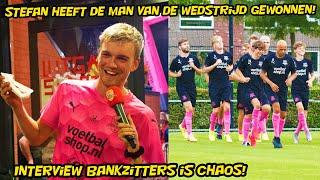 Stefan heeft de man van de wedstrijd gewonnen. Interview Bankzitters chaos.