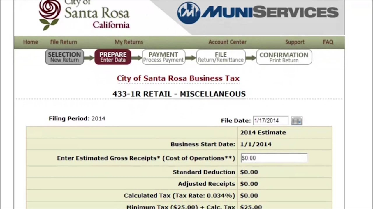 Santa Rosa, CA Business Tax Certificate New Filer Guide - YouTube