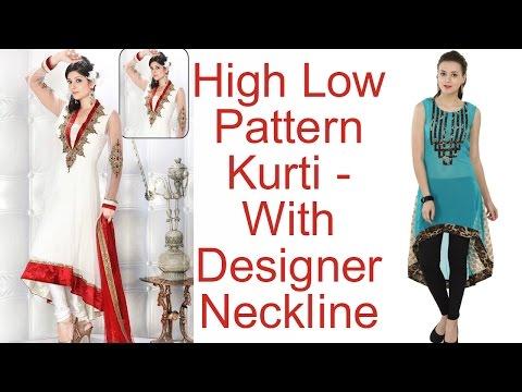 High Low Pattern Kurti - With Designer Neckline