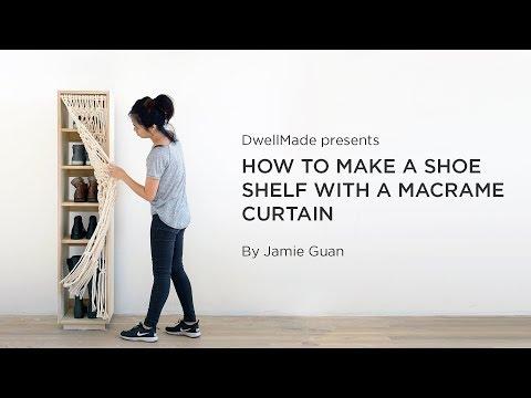 DIY Shoe Cabinet with a Macramé Curtain
