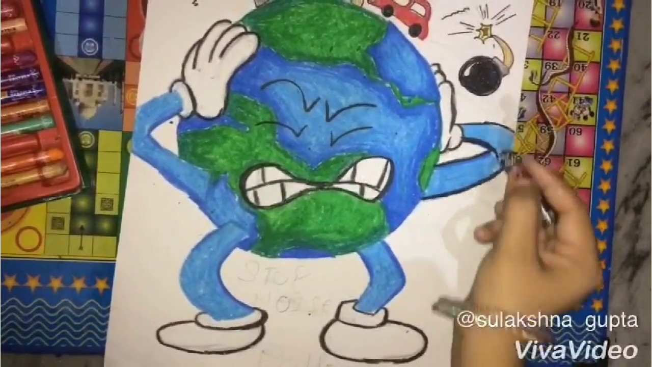 Stop Noise Pollution Drawing Stop Noise Pollution Poster Youtube
