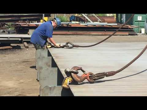 Flat Barge Construction in Shipyard, Deck Panel Installation, Step 2: Rigging Arrangement