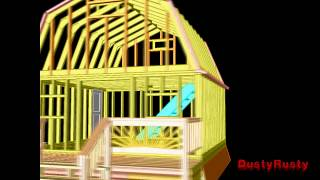 3d Autocad Modelling:2-story Barn