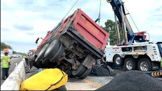 Dump Truck Rollover NYS Thruway Video
