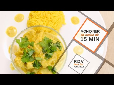 Un curry de poulet et son riz en moins de 15 minutes