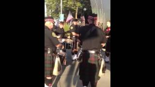 Seattle Firefighters Bagpipe Band warm up for Seafair 2012