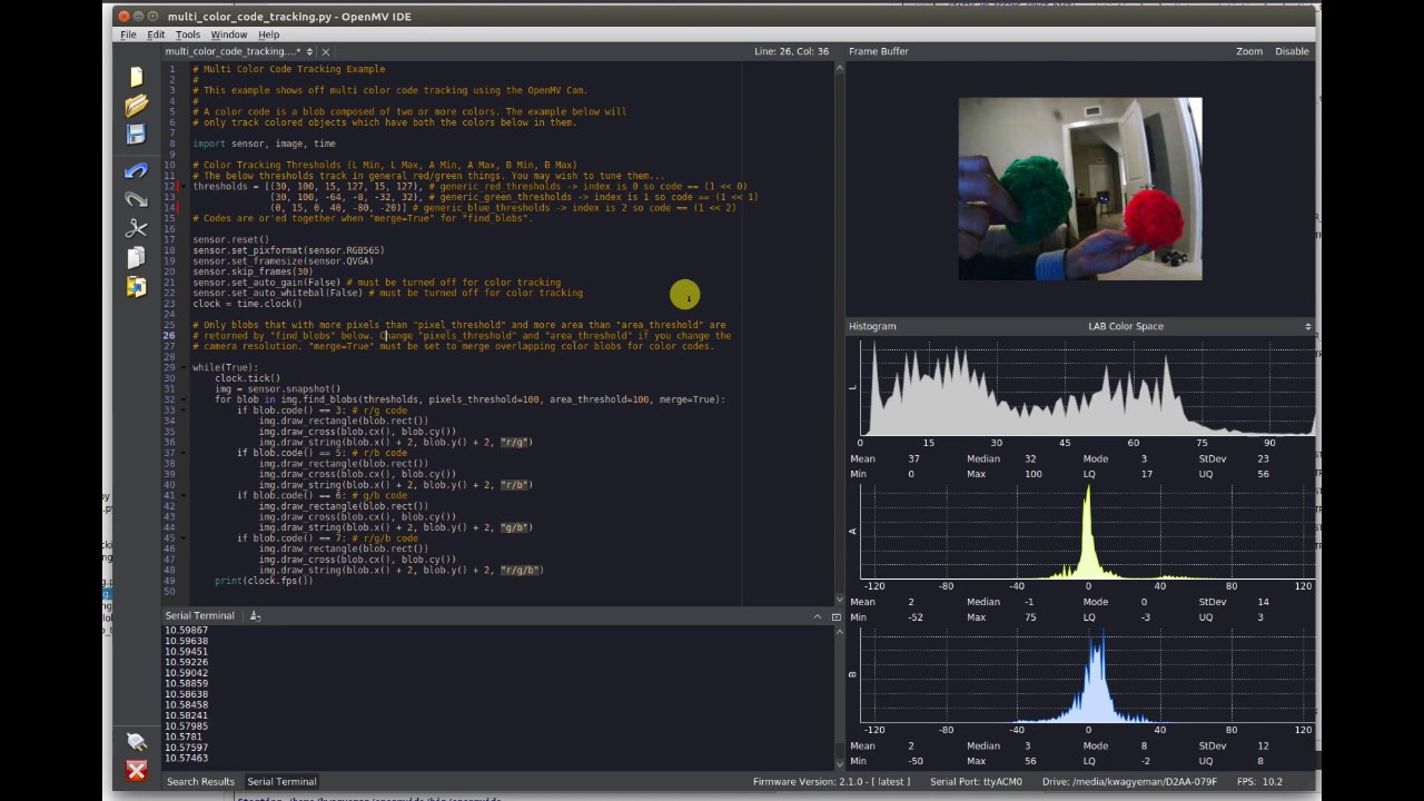 Color Tracking @ 30 FPS w/ OpenMV Cam M7