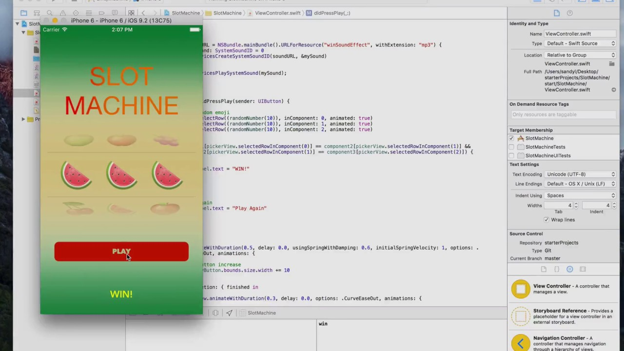 iOS Animation with Swift Playing Sound AV Foundation class 22