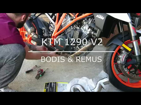 montage bodis sur la ktm sdr 1290 v2 2017 avec slip on. Black Bedroom Furniture Sets. Home Design Ideas