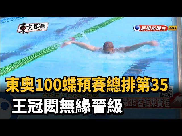 東奧100蝶預賽總排第35 王冠閎無緣晉級-民視新聞