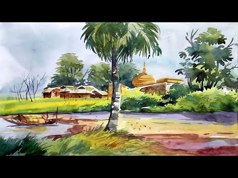 How To Paint a Watercolor Landscape Drawing Step By Step