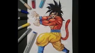 Drawing Goku Super Saiyan 4 - Kame Hame Ha - Dragon Ball GT