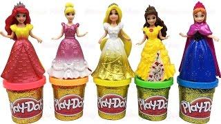 Play Doh Sparkle Disney Princess Dresses Ariel Rapunzel Belle Magiclip Creative Fun for Kids