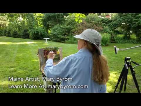 Maine Artist Mary Byrom Plein Air Painting Demo at the Hartwell House Inn of Ogunquit