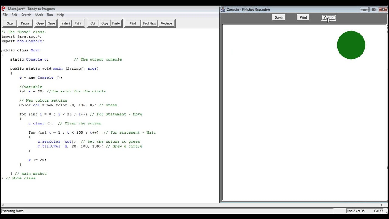 How to write a Java code in Ready to make a circle moving