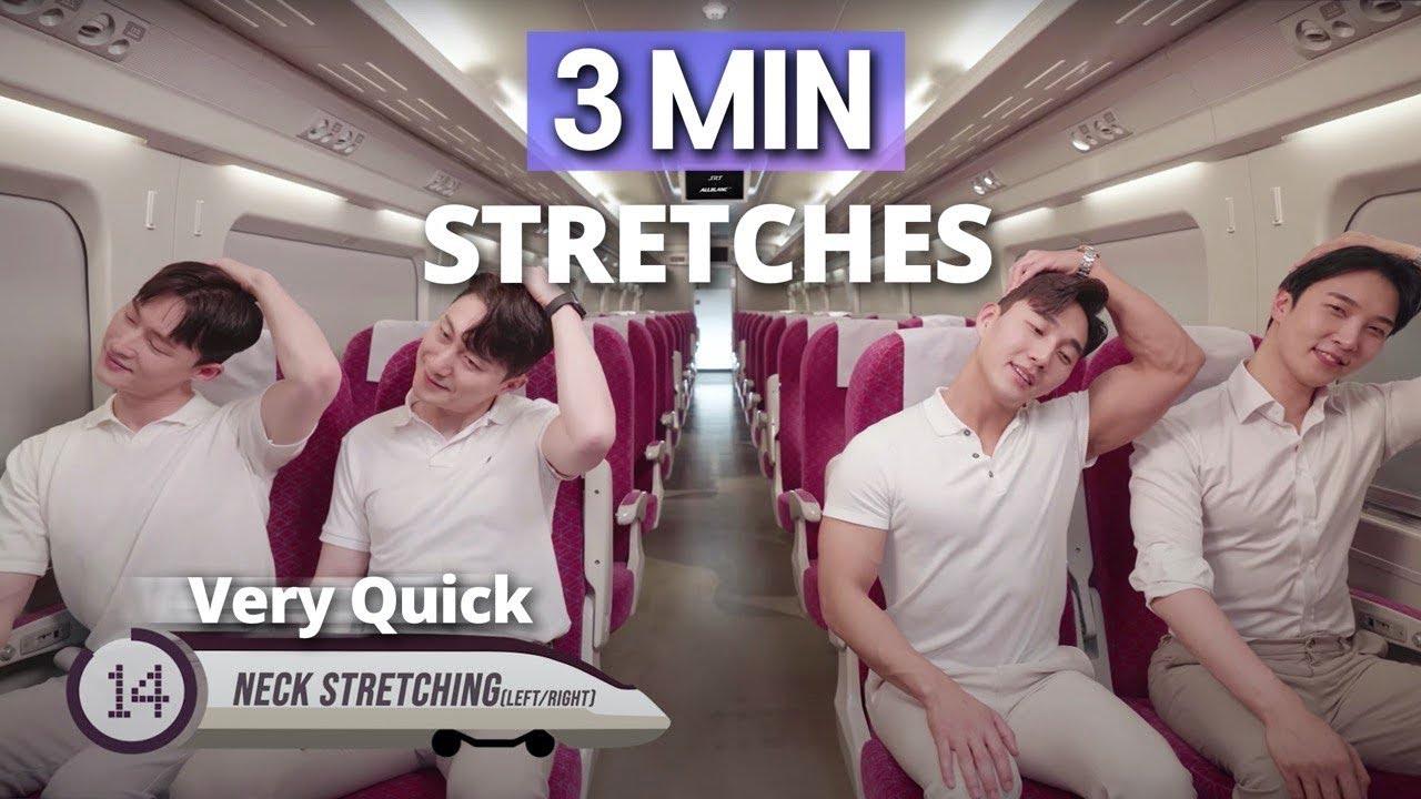 3MIN SEATED EASY TRAIN STRETCHES l 앉자마자 따라하는 3분 스트레칭 (기차에서 전신 몸풀기) l Allblanc TV
