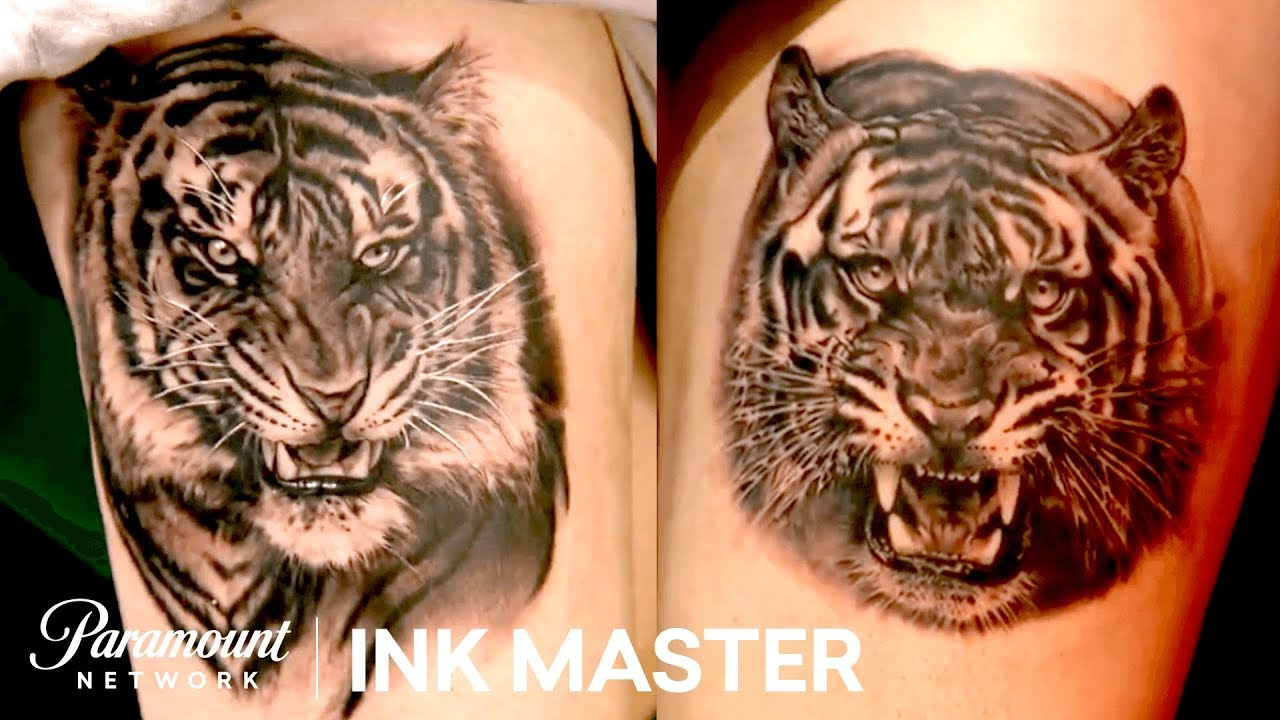 Black Grey Realistic Tigers Tattoo Face Off Ink Master Return Of The Masters