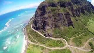 Kualoa Ranch Oahu from Helicopter where Jurassic Park filmed
