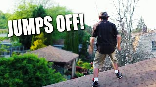 OLD MAN JUMPS OFF ROOF!!