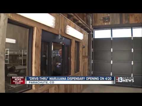 Drive-thru marijuana dispensary opening in Colorado on 4/20