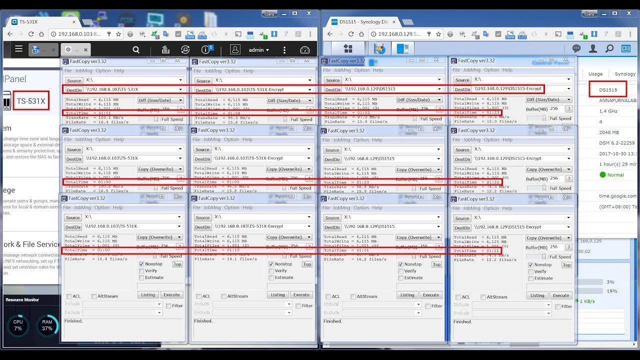 QNAP TS-531X vs Synology DS1515 SMB Test