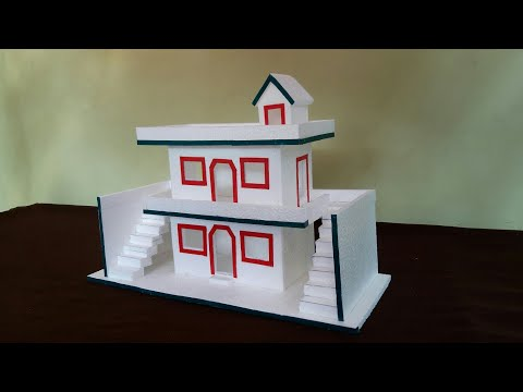 How To Make Thermocol House   DIY- Thermocol House   Thermocol Craft For School Project   Mini House