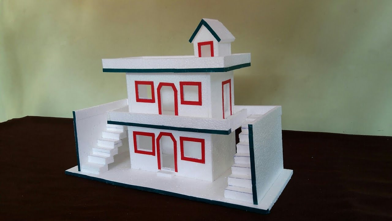 How To Make Thermocol House  DIY Thermocol House  Thermocol Craft For School Project  Mini