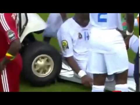 D.R. Congo's player get hit with the medical cart at Africa Cup