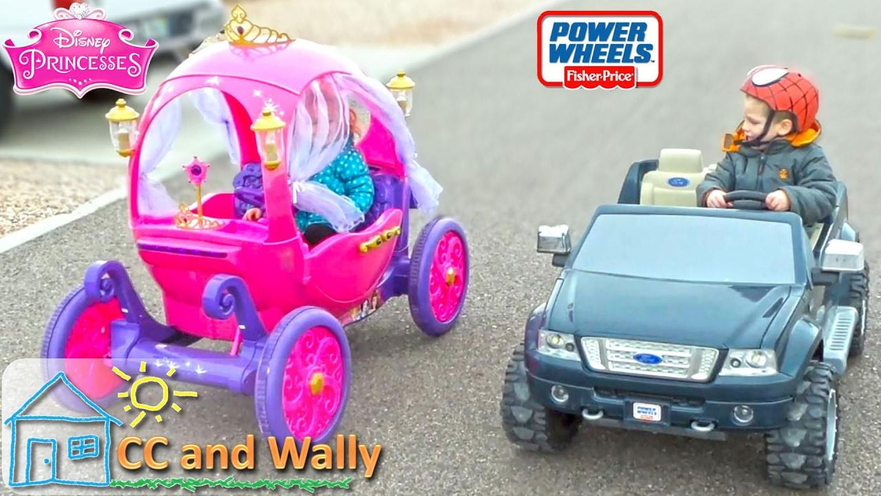 Disney Princess Carriage vs F150 Power Wheels Street Race Head 2 Head 24v  vs 12v Cinderella Elsa 229e7fe9f4d9