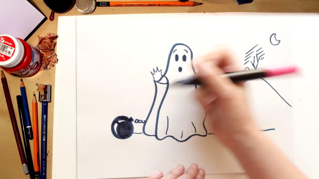 Como Dibujar Un Fantasma Dibujos De Halloween Para Niños Youtube