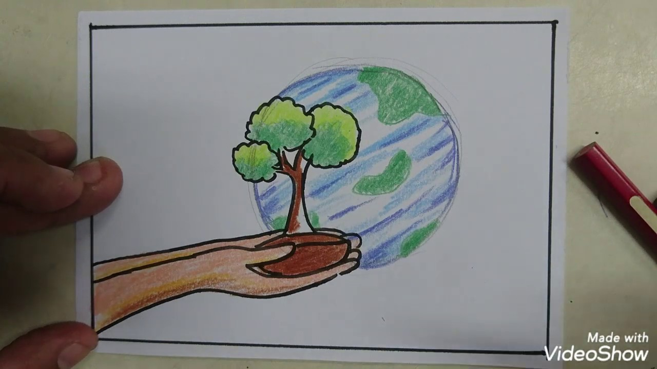 Cara Mudah Menggambar Poster Hijaukan Bumi Drawing Earth Day