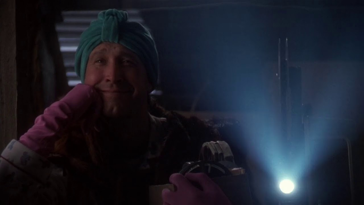 Christmas Vacation Attic.Clark Griswold Watches Snuff Films In His Attic