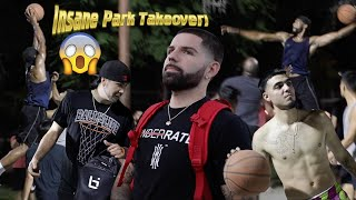 Insane Park Takeover 5v5 Basketball! Fight Almost Breaks Out!