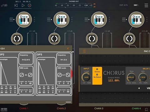 Four FAC Chorus FX Meet Four KQ DIXIE Synths in AUM - Demo for the iPad