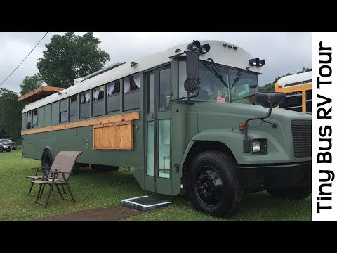 Spectacular Tour Of Tiny House School Bus RV Conversion Camp