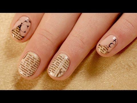Newspaper Nail Design On Short Nails