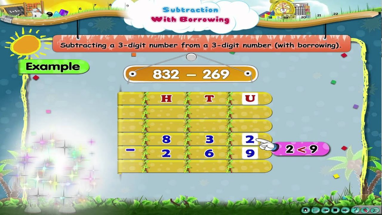 Learn Grade 3 - Maths - Subtraction With Borrowing - YouTube