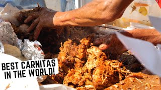 Best Mexican STREET FOOD in MICHOACAN, MEXICO | KING OF CARNITAS + Gaspacho on STEROIDS