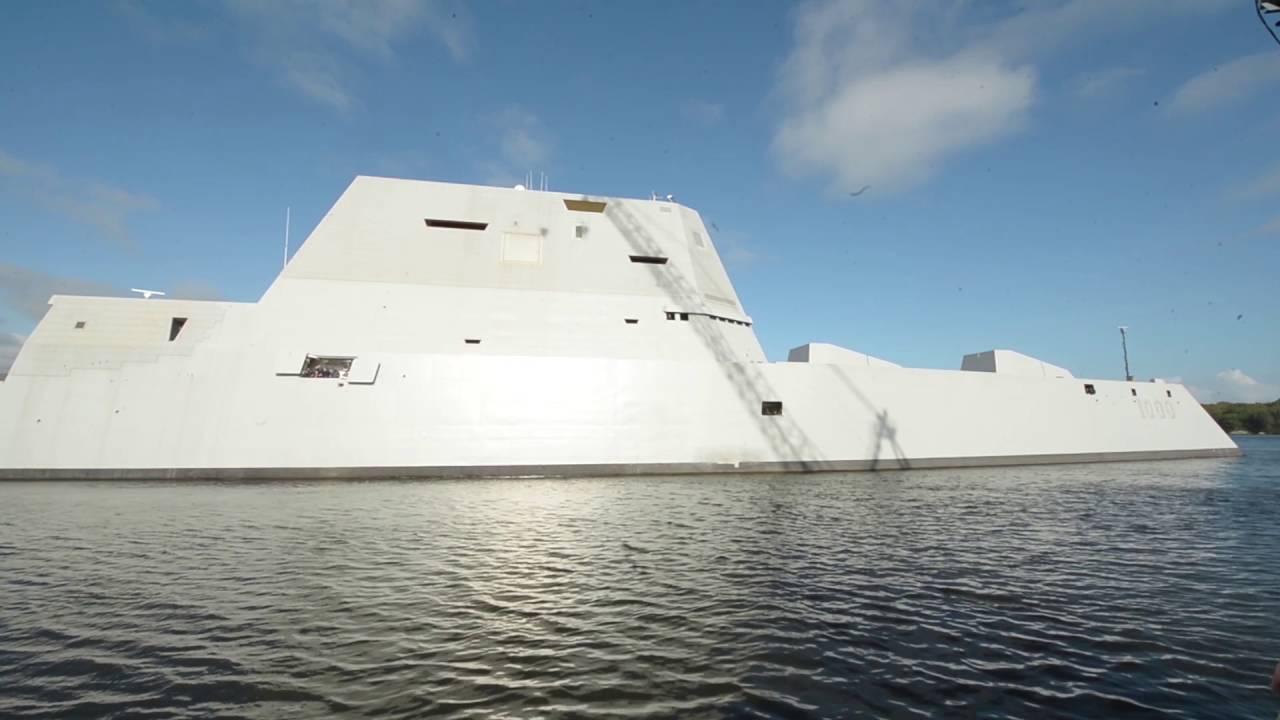 The Future USS Zumwalt (DDG 1000) Departs Bath, Maine   YouTube