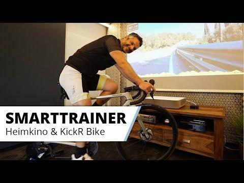 Das ultimative Indoor Cycling Erlebnis - im Heimkino. Kickr Bike Smart Trainer mit großem Bild.
