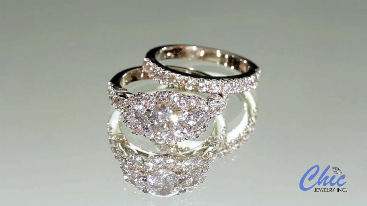 Antique style cubic zirconia engagement ring set in 14k white gold