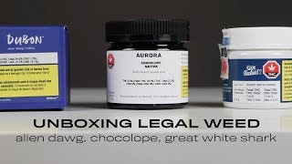 Unboxing legal weed: Alien dawg, Dubon // Chocolope, Aurora // Great white shark, San Rafael '71
