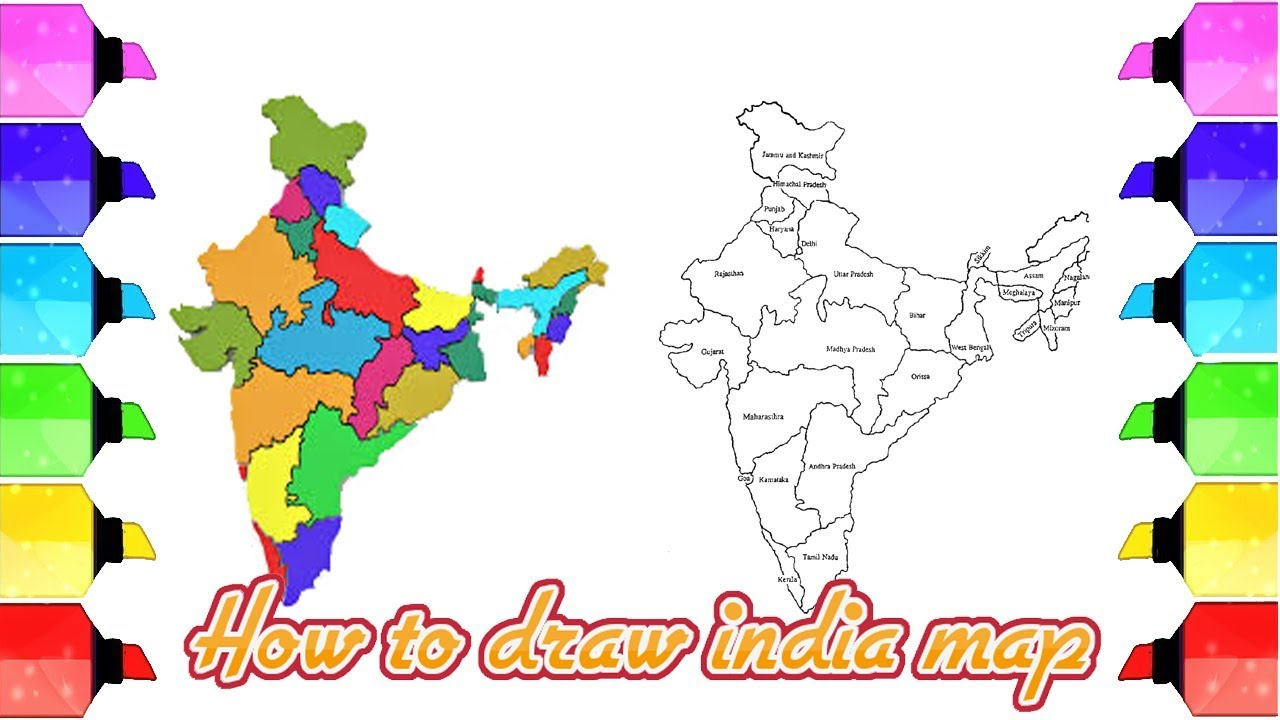 India map drawing: How to draw India map easily - Map of India with ...