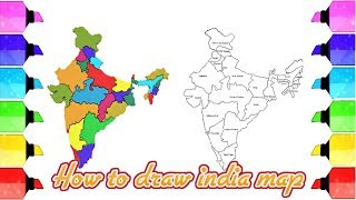 India map drawing: How to draw India map easily - Map of India with states