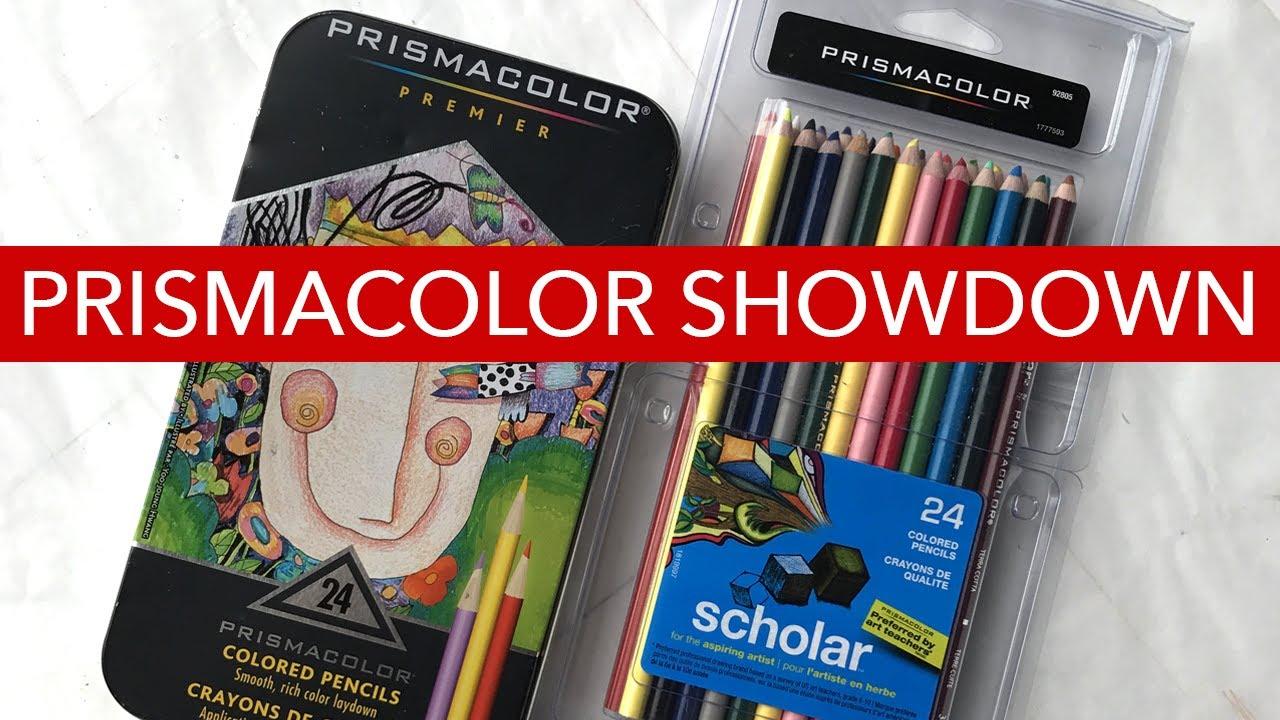 prismacolor showdown premier vs scholar colored pencils youtube