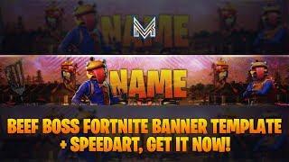[FREE!!] Fortnite Beef Boss Banner Template #5 + Speedart | Photoshop