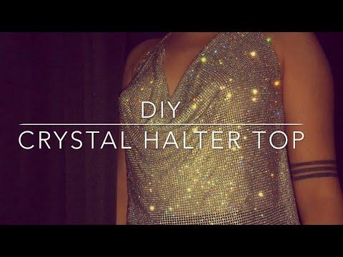 249c4bb44e8 DIY CRYSTAL HALTER TOP - YouTube