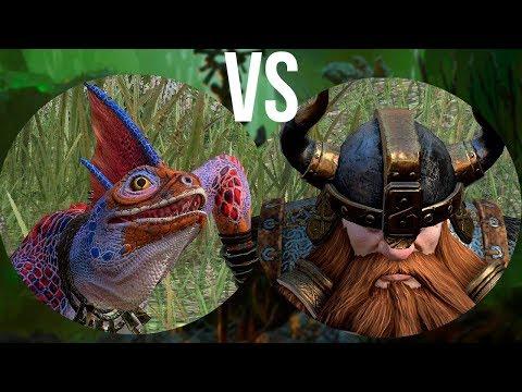 Красногребневые сцинки vs Гномьи воины: Total War Warhammer 2. тесты юнитов v1.6.0.