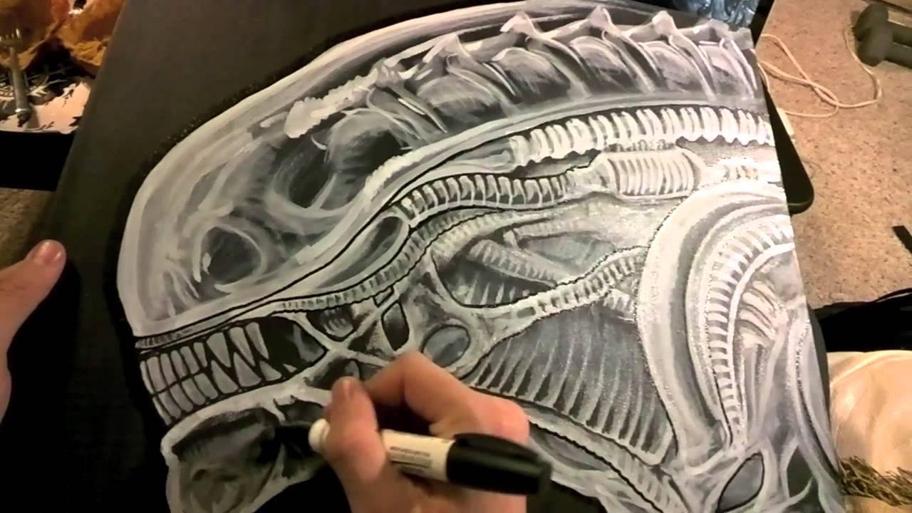 gigers alien painting timelapse through google glass
