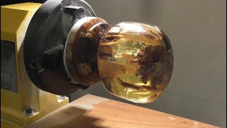 Woodturning Epoxy Resin and Wood L.E.D. lamp-
